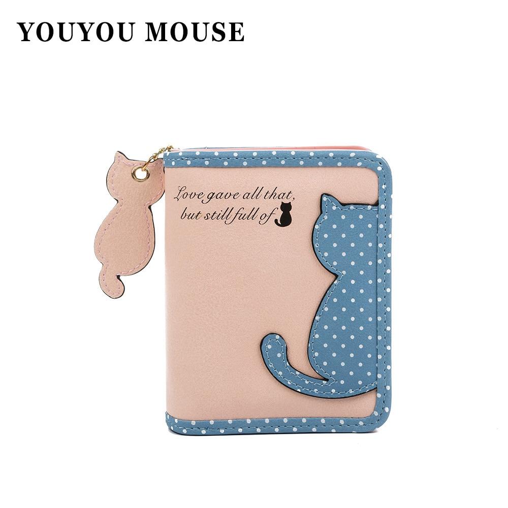 YOUYOU MOUSE Fashion Women Wallet Qute Cat Pendant Ladies Purse Hit color Splice Zipper Short Clutch Coin Purse Card Holder