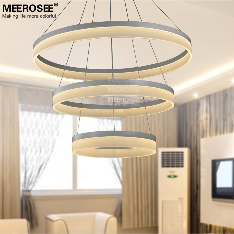 LED Round Chandelier Modern Acrylic L& Light for Dinning Room LED Lustres 3 Rings Restaurant LED Hanging Light Fixture-in Chandeliers from Lights ... & LED Round Chandelier Modern Acrylic Lamp Light for Dinning Room LED ...