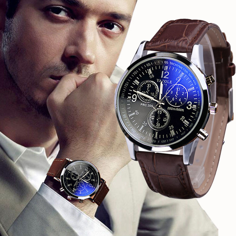 Mens Watches Analog Quarts Faux Leather Blue Ray Men Wrist Watch ...