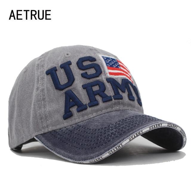 AETRUE nueva gorra de béisbol de la vendimia hombres USARMY Snapback hueso  mujeres sombreros para hombres 72f9d9cb2eb