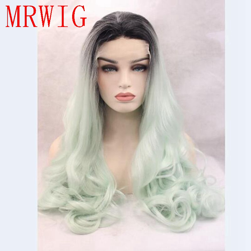 MRWIG ombre mint green free part long wavy synthetic glueless front lace wig 26in real h ...