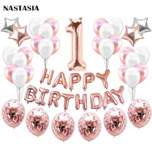 NASTASIA 1st BIRTHDAY GIRL DECORATIONS (36 Piece Set) | Birthday Party Supplies and Rose Gold Decorations