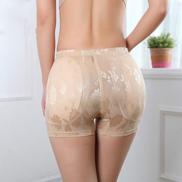 PRAYGER 4XL Women Lace Sexy Butt Bum Enhancer Panties Removable Inserts Fake Ass Shapers Lift Hip Slimming Thigh Underwear
