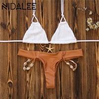 DINALEE Conch Rope Bikinis Set Shell Bandage Swimwear White Push Up Halter Top Shell Bottlem Brazilian
