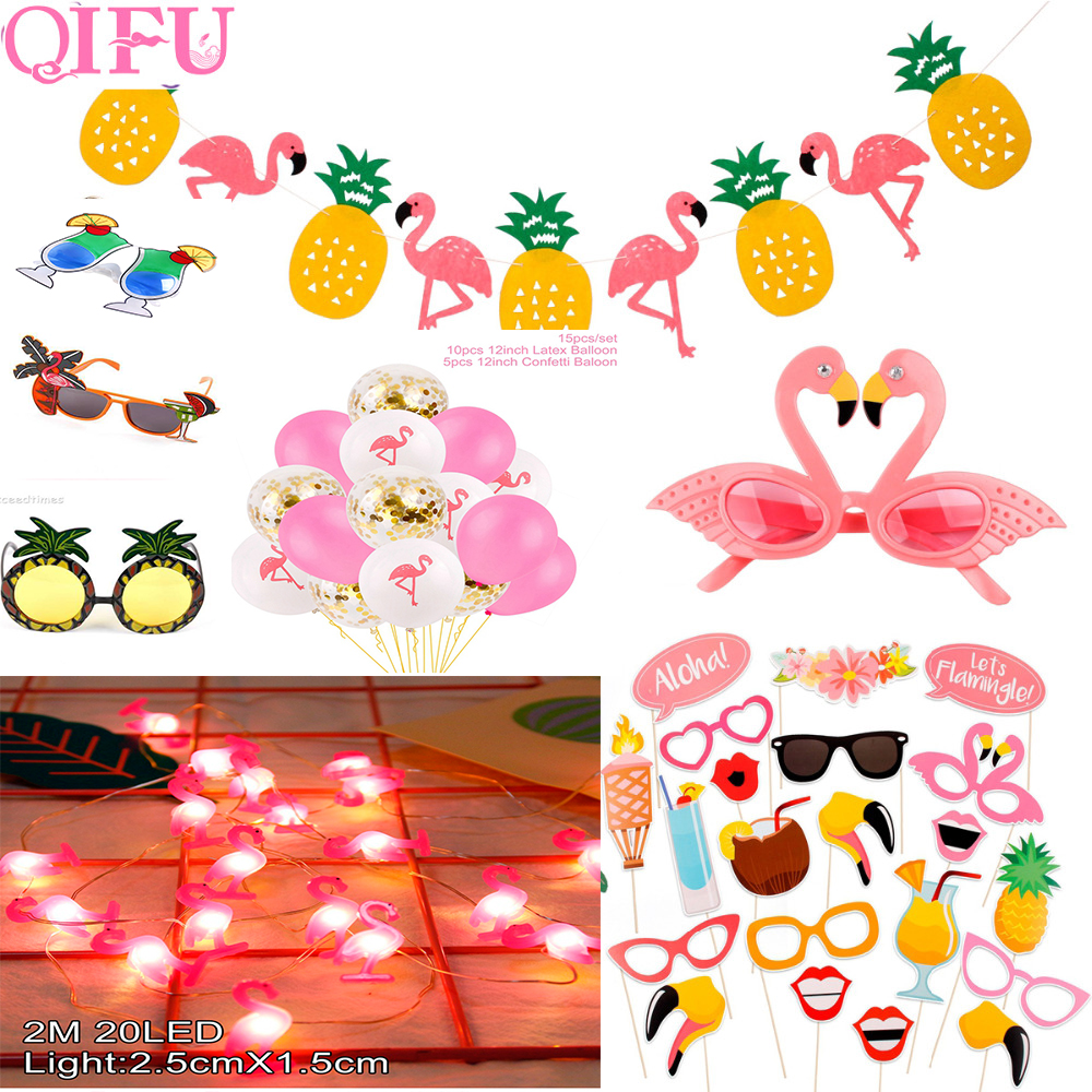 QIFU Hawai Flamingo Decor Flamingo Banner Hawaiian Party Decorations Happy Birthday Party Banner Luau Party Supplies in Banners Streamers Confetti from Home Garden