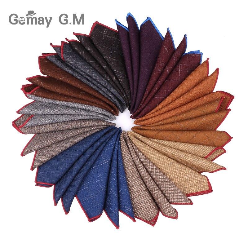 Fashion Cotton Wool Pocket Square Suits Hanky For Men Plaid Mens Handkerchiefs Casual Suit Square Handkerchief Towels For Party