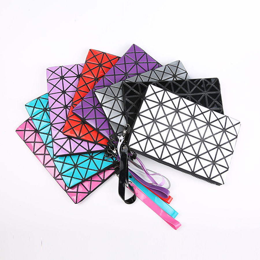 Fashion Cosmetic Cases Geometric Stitching Long Section Of Pu Leather Clutch Phone Package Organizator Sac Maquillage Makeup bag