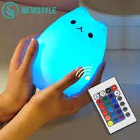 Coloré Chat Silicone LED Nuit Lumière Rechargeable Capteur Tactile lumière 2 Modes Enfants Mignon Nuit Lampe Chambre Lumière