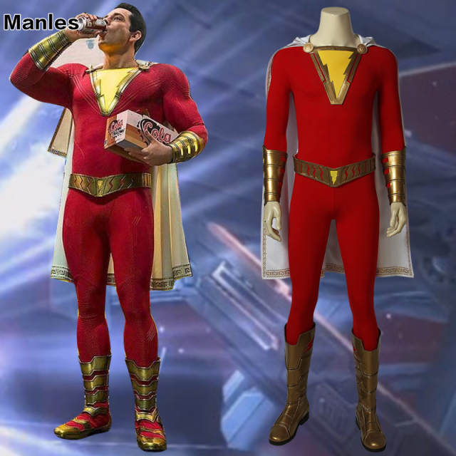 Captain Marvel Costume Cosplay Shazam Billy Batson Jumpsuit Movie Suit Superhero Halloween With Boots Adults Men