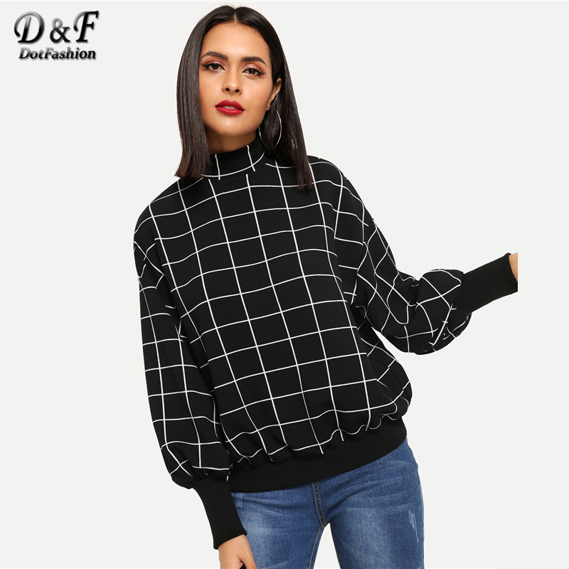 Dotfashion Black And White Plaid Mock-Neck Grid Pullover Womens Clothes 2019 Autumn Women Fashion Clothing Casual Sweatshirt