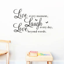Viver Cada Momento Rir Todos Os Dias Amor Além Da Palavra Citações Inspiradas Adesivos de Parede Quarto de Decoração Para Casa Diy Pvc Mural Art