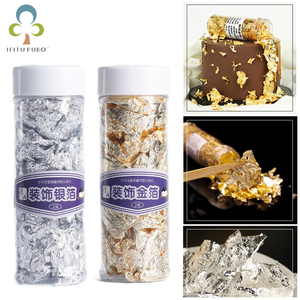 2g Small Pieces Real Genuine Edible Gold Silver Leaf Foil Flake Glod Foil for Edible Mask Decorative Dishes Cake Decoration GYH(China)