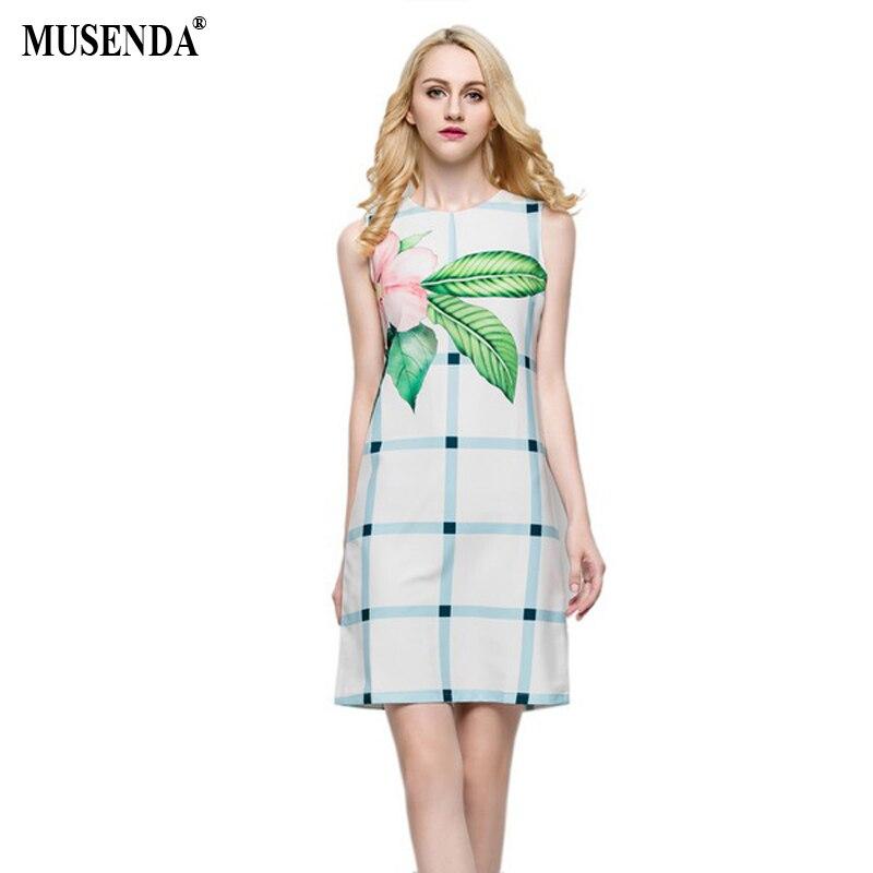 MUSENDA Women Floral Plaid Short Dress 2017 Summer Elegant Vintage Casual Office Dresses Designer White Clothes Vestido Sundress short dresses office wear