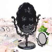 Новейшее черное винтажное Королевское зеркало для макияжа настольное вращающееся готическое зеркало с бабочкой розы и лозы украшение косм...