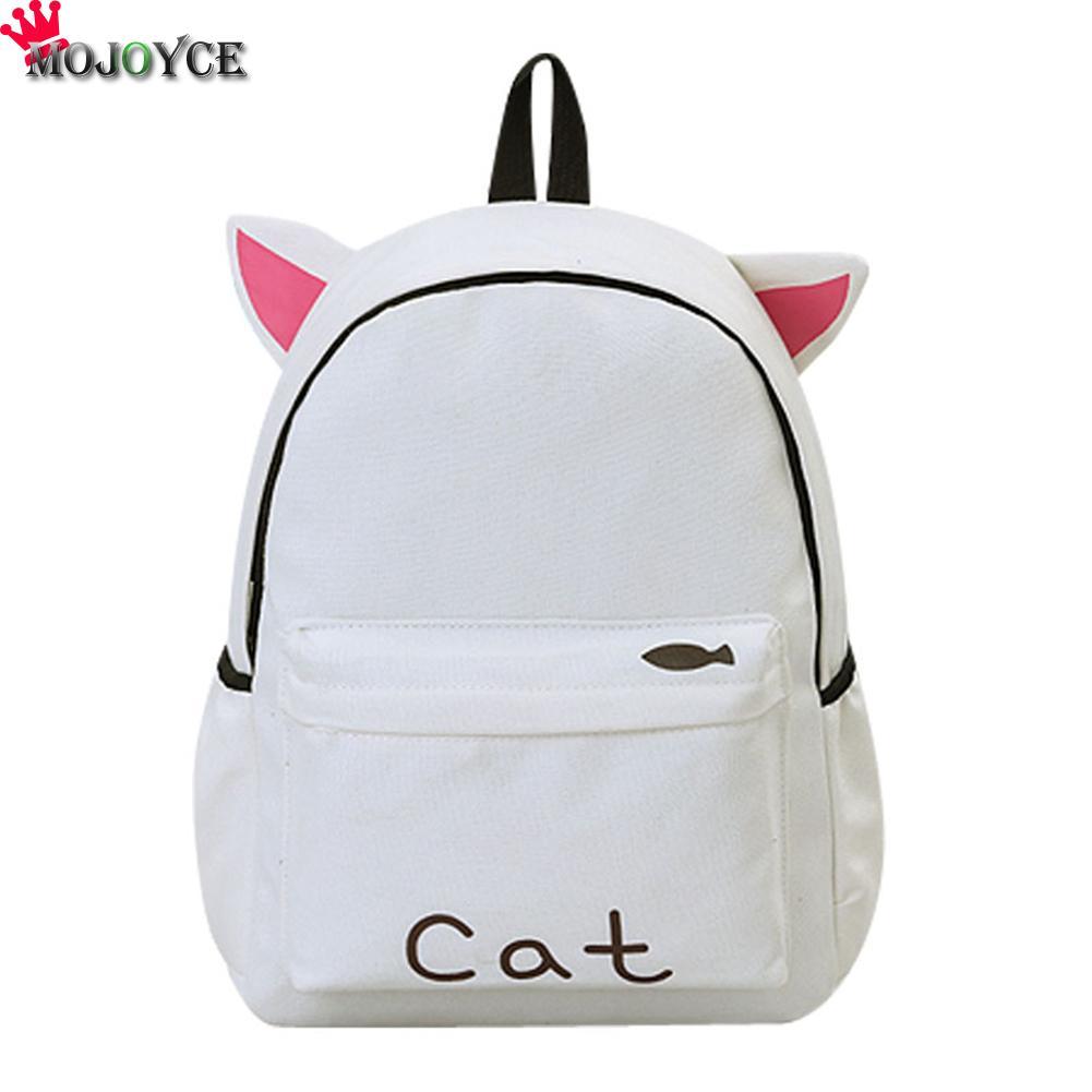 Cute Canvas Backpack Cartoon Cat Embroidery School Bag For Teenage Girls Backpacks Casual Ears Large Bags Pink Mochila