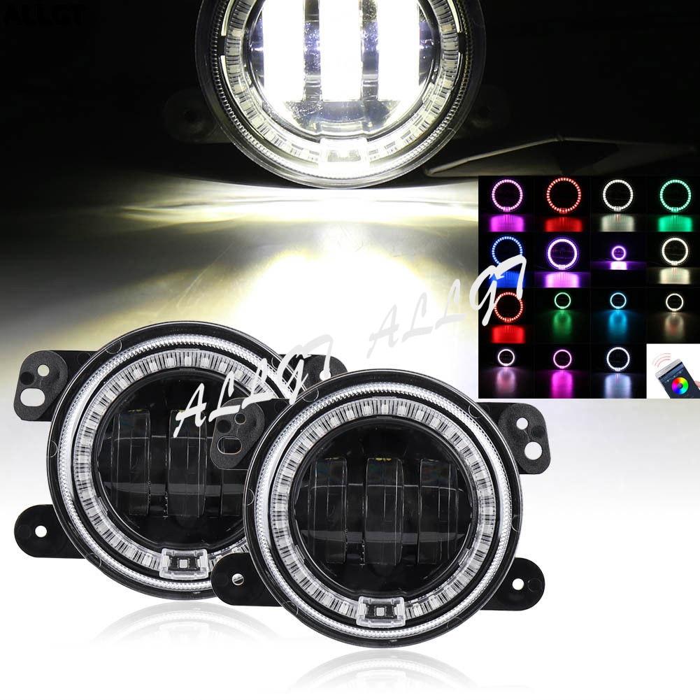 Pair LED Fog Light Halo for Jeep Wrangler JK 2007 2008 2009 2010 2011 2012 2013 2014 2015 2016 Bluetooth Controller a set black car floor liner tpe for jeep wrangler jk 2 door 2007 2008 2009 2010 2011 2012 2013 2014 2015