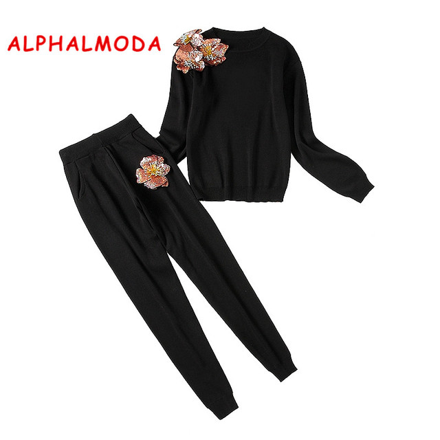 ALPHALMODA New Sequined Flower Sweater + Pants 2pcs Fashion Suits Women Autumn Winter Vogue Stylish Jumpers Trouser Sets