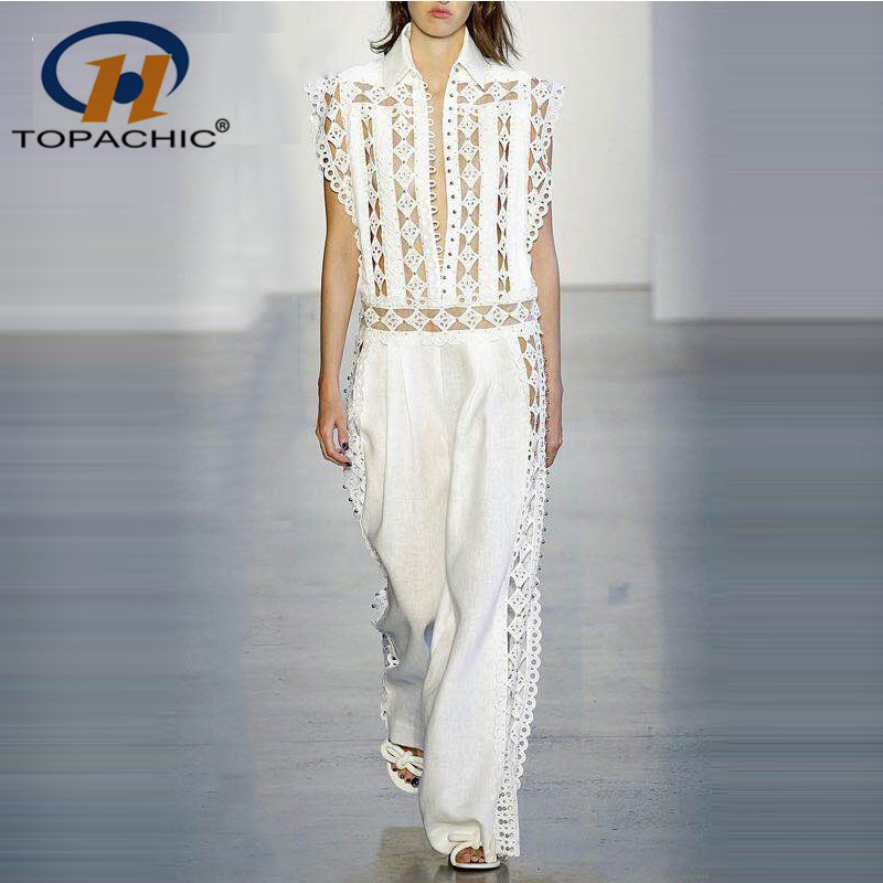 TOPACHIC O Neck Water soluble lace Patchwork ReWork Rivet HollowOut Fashion Show jumpsuit SexyWomen Celebrity BodyCon