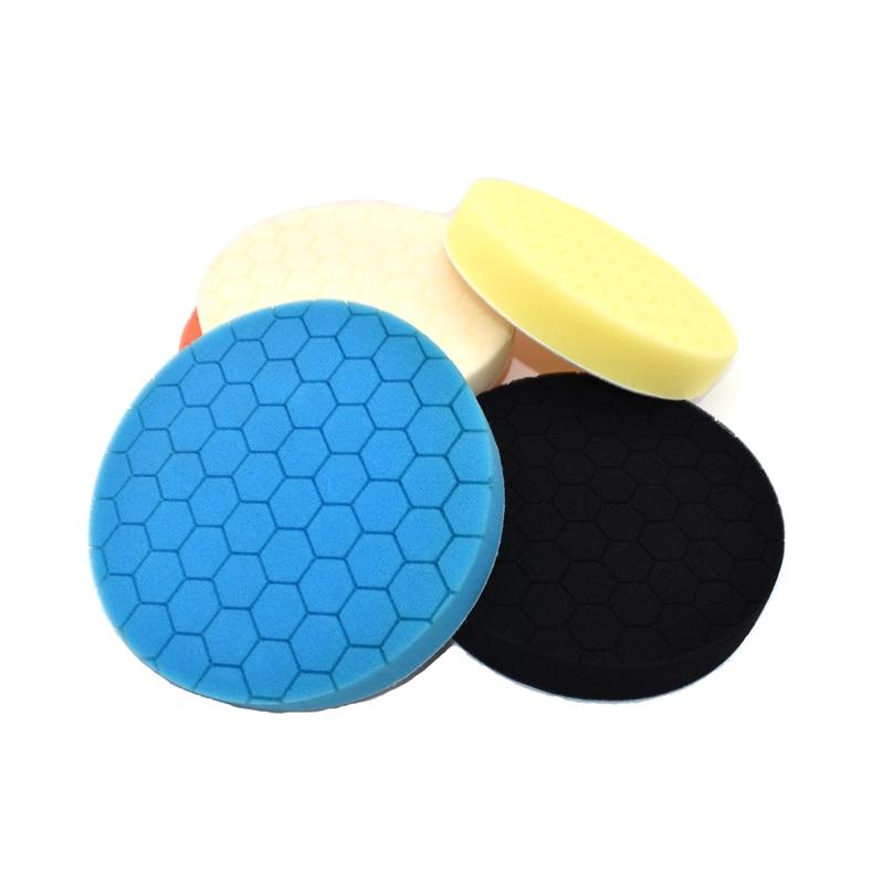 цена на 5Pcs Car Polishing Sponge Foam Pads 3/4/5/6/7 inch Buffing Wax Polisher Set Finishing Heavy polishing Pad