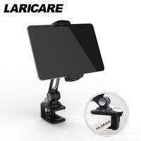 LARICARE aluminio tablet soporte ajustable con teléfono de color blanco y negro y la abrazadera para ipad, ergonómico soporte de tabletas LD-204B