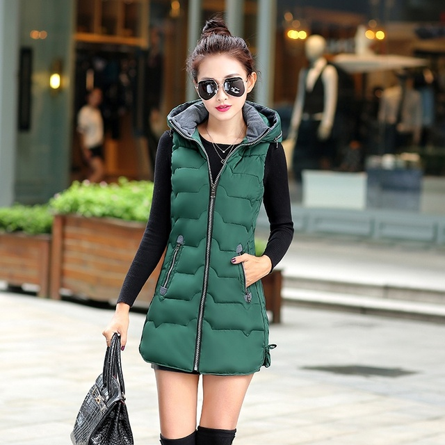 Fashion Women Waistcoat Hooded Slim Fit Lady Vest Sleeveless Coat Autumn And Winter Women Jacket Vest JX1626