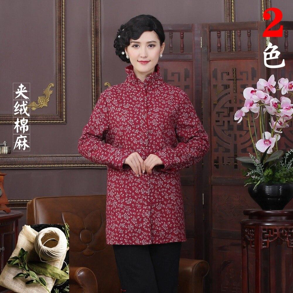Roja de la venta caliente otoño abrigo de invierno de algodón de lino chino trad
