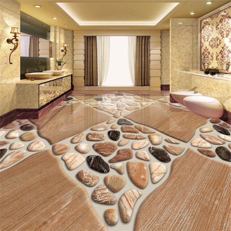 Beibehang Custom photo 3d wallpaper modern art pebble bathroom floor wallpaper 3d PVC wallpaper self-adhesive floor wallpaper 3d