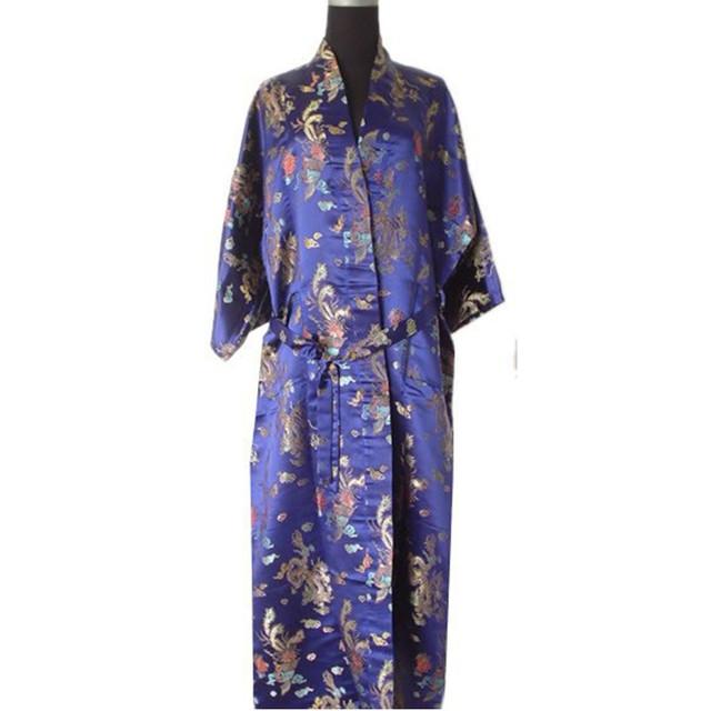 Promoción Azul Marino Macho Bata de Satén ropa de Noche de Estilo Chino Baño vestido de Kimono Tradicional Envío Libre Sml XL XXL ZR17