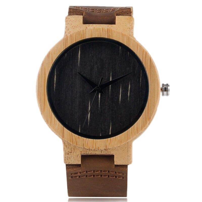 Bamboo loominguline puidust kella nahast bänd rihma kaasaegne kvarts - Meeste käekellad - Foto 1