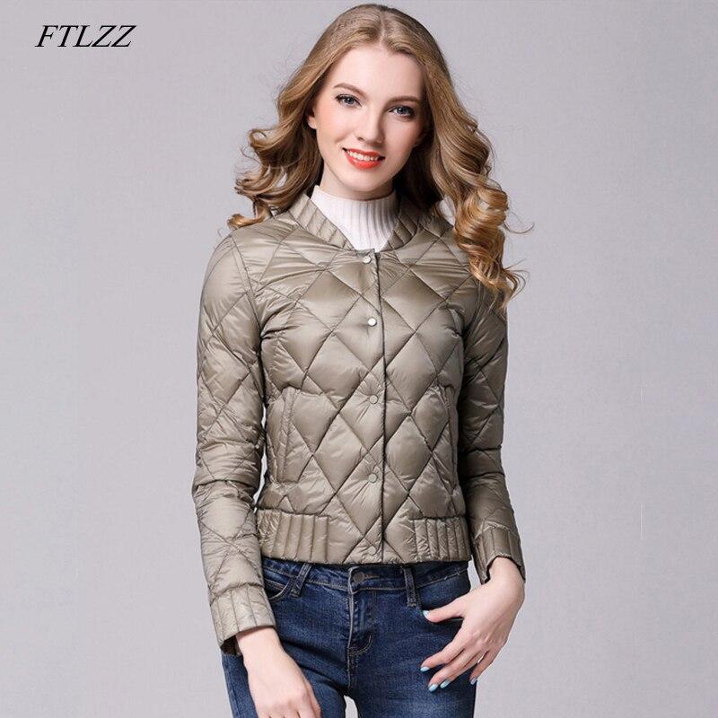 FTLZZ Winter Women Ultra Light   Down   Jacket Slim Casual   Down     Coats   Female Plus Size S-3xl Warm Black Short Jacket Outerwear