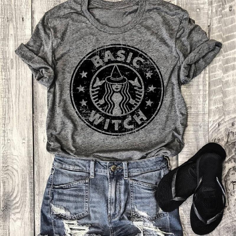 Básica bruja letras festivales clásicos comodidad impresa camisa Casual más tamaño algodón Halloween mujeres camisetas gráficas divertidas Tops