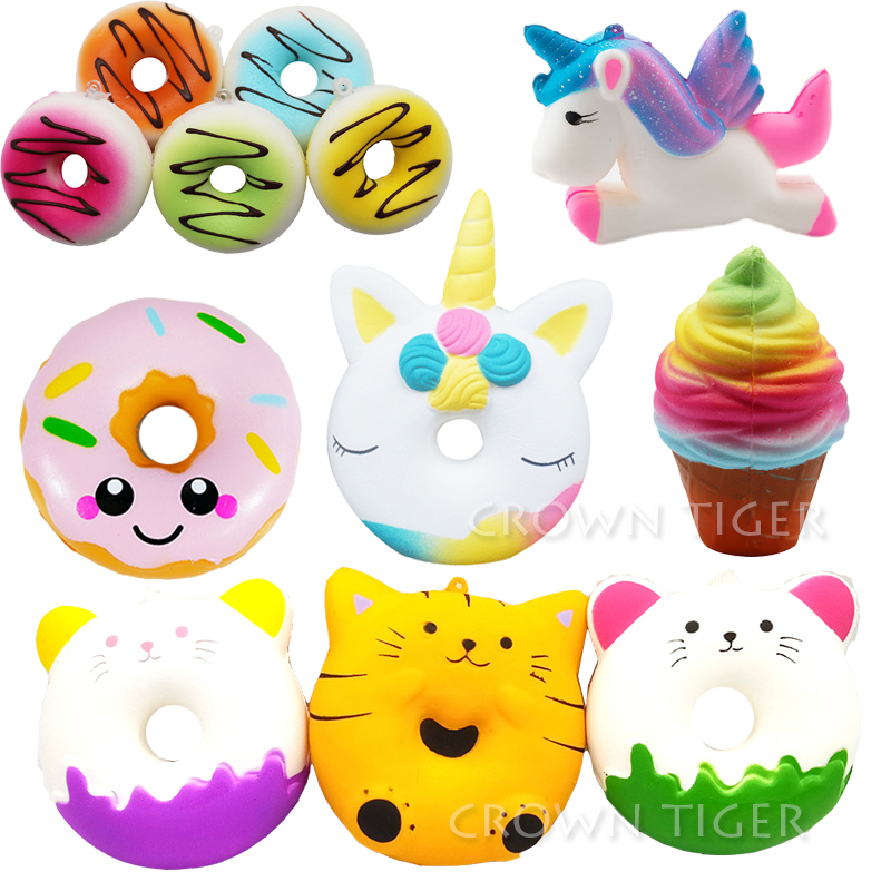 Kawaii Squishe Jumbo Squishy Donut Antistress Toy Squishy Slow Rising Stress Relief Novelty Gag Toys Gadget Anti-stress Keychain