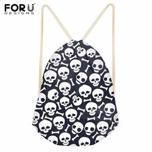 FORUDESIGNS Halloween Skull Drawstring Bag Portable Beach Backpack Travel Pouch Ball Pockets Unisex Lightweight Bags Package