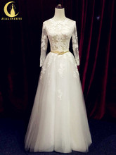 Rhine Real Sample Long Sleeves Lace Appliques See Through A-line Floor Length Bridal Wedding Dresses Wedding Gown