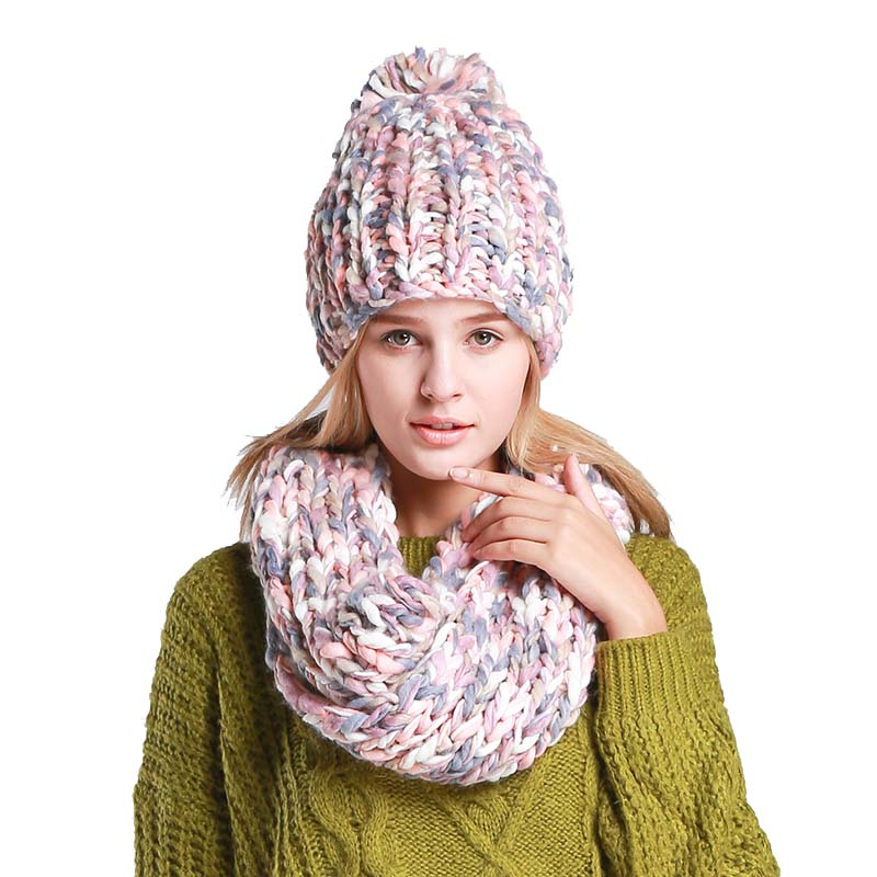 Varicolored Knit Hat And Scarf Warm Winter Hat For Women Hat Beanies Thick Female Bonnet Scarf Set Women Scarf Comfortable