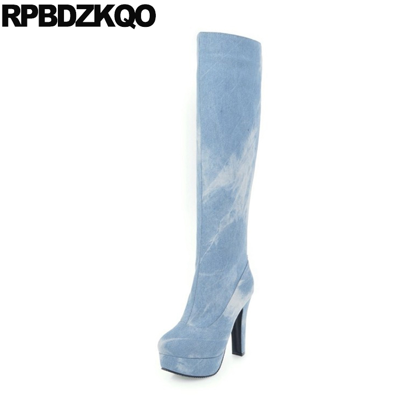 Slim Jeans Size 4 Blue Denim Boots Knee High Thick Women Platform Elastic Winter Shoes Heel Autumn Fashion Extreme Long Ladies luxury good quality new fashion women zipper jumpsuit slim fit skinny jeans rompers pocket denim jumpsuits size sexy girl casual