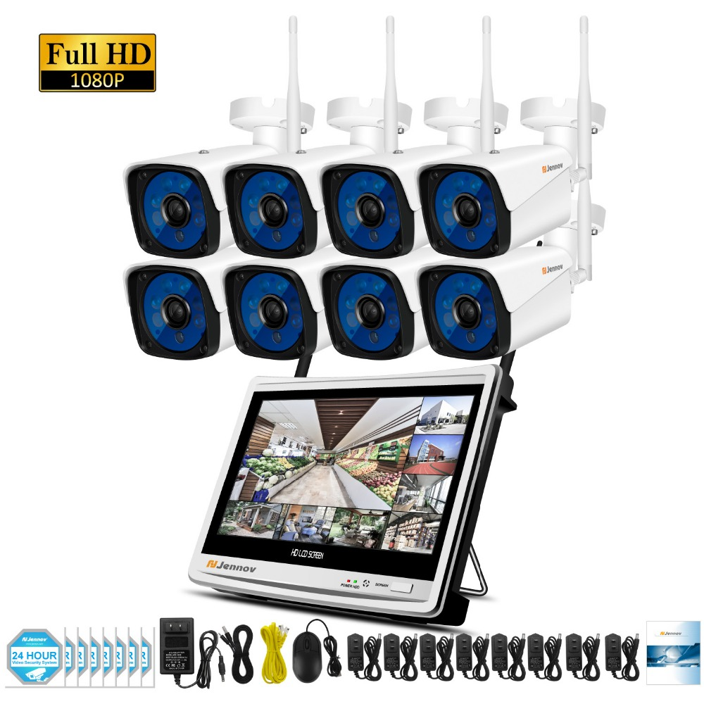 8CH 1080P 2MP Wireless Security CCTV IP Camera System NVR 12 inch LCD Monitor Camara P2P wifi Video Surveillance Kit Ip Camara 4ch wireless nvr kit 13 lcd monitor screen waterproof 1080p 2mp security cctv ip camera wifi p2p video surveillance system set