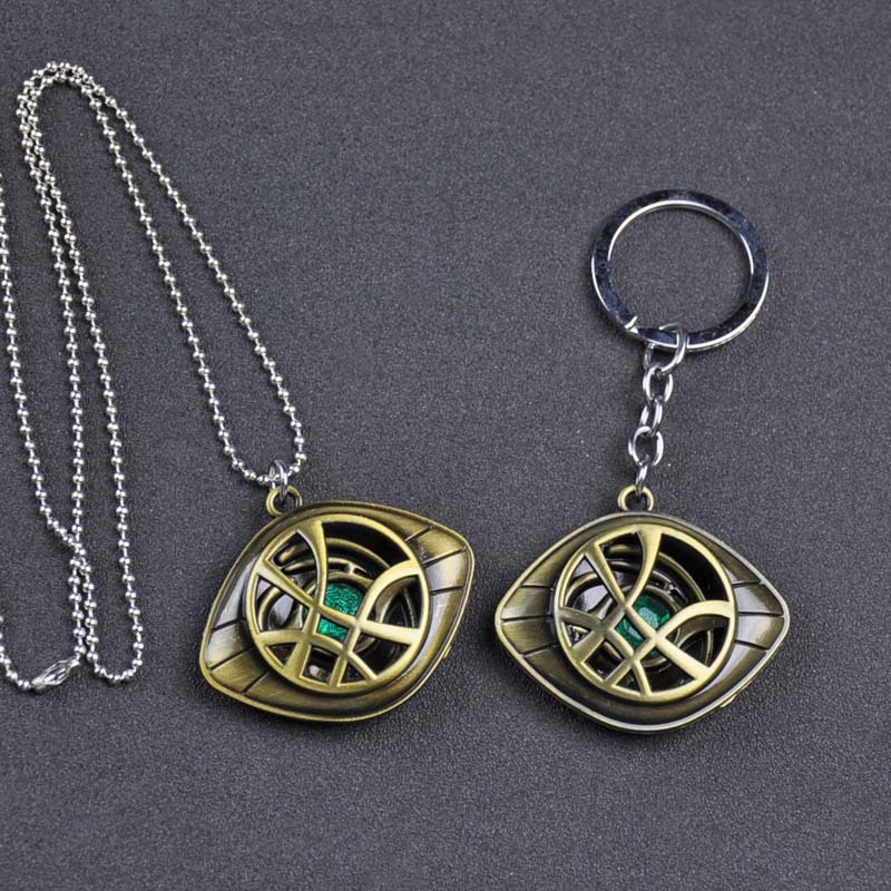 New Avengers Doctor Strange Glasses Keychain Infinity Time Stones Necklace Keychain Marvel Figure Model Pendant Children's Gift