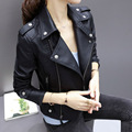 2017 New Spring Leather Jackets Women  Rivet Zipper Motorcycle Faux Leather Coat Female Paragraph Lapel PU Jacket