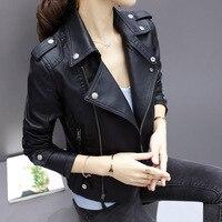 Juantalk модный бренд Кожаные куртки Для женщин с заклепками мотоботы на молнии из искусственной мягкой кожаные пальто женский пункт с лацкана...