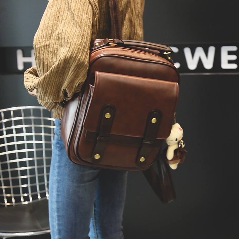 Mochila feminina marca de volta pacote estilo universitário mochila couro mochilas escolares estudante do vintage retro