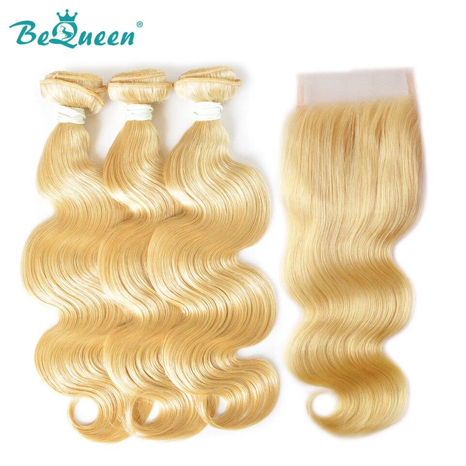 Bequeen Hair Peruvian Blonde Body Hair 100 Virgin Human Hair extension 3 Bundles with closure Free
