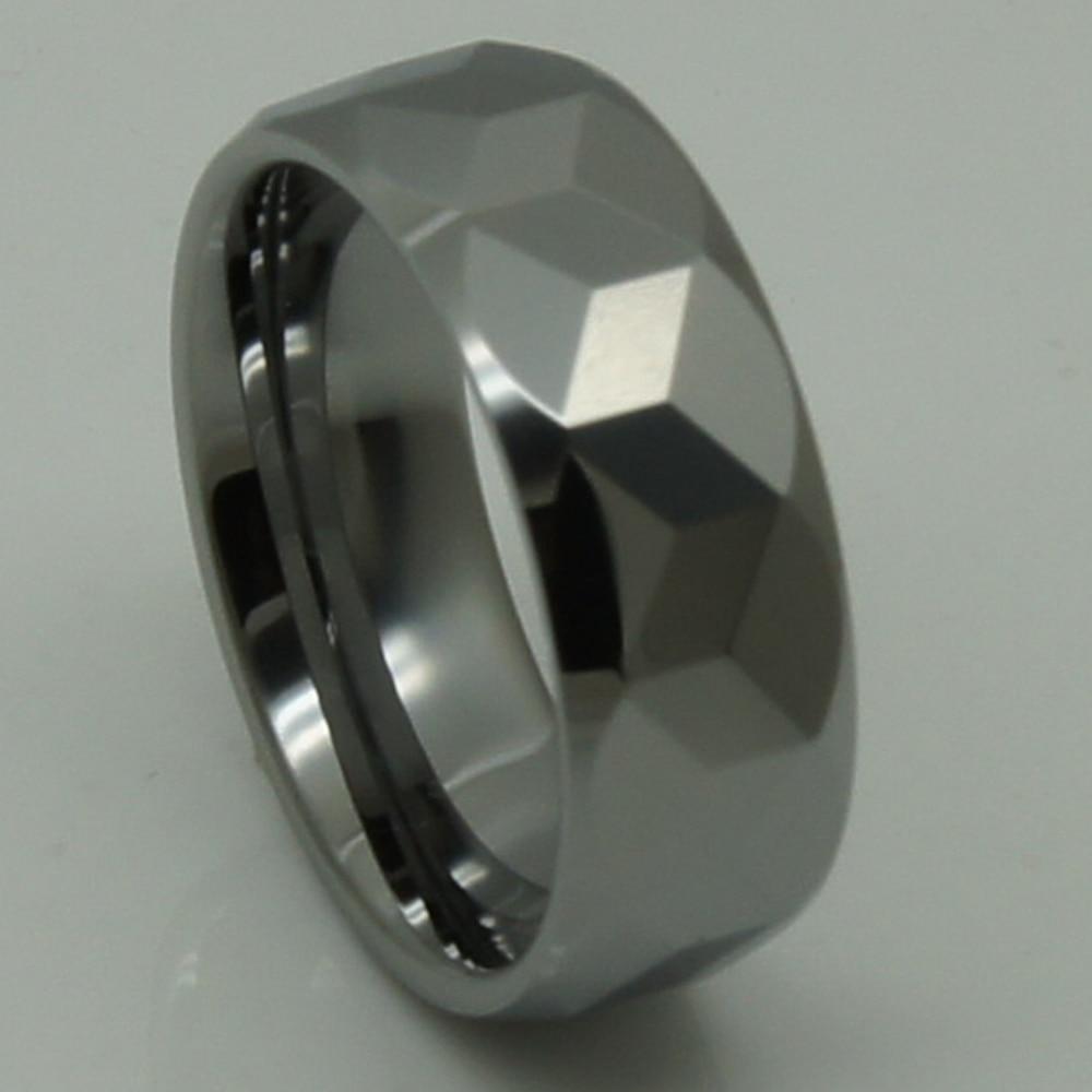 men jewelry 8mm cubic geometrical facet hi tech scratch proof wedding tungsten ring