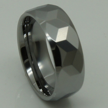 Los hombres de la joyería 8mm faceta cúbicos geométricas tungsteno del anillo de bodas de alta tecnología a prueba de arañazos