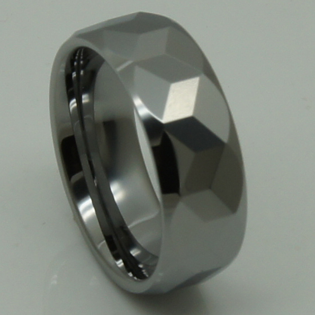men jewelry 8mm cubic geometrical facet  hi-tech scratch proof wedding tungsten ring