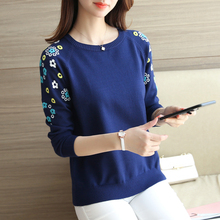 Short sweater female sleeve head embroidery cotton Crewneck sweater shirt sleeved all-match new winter dress.