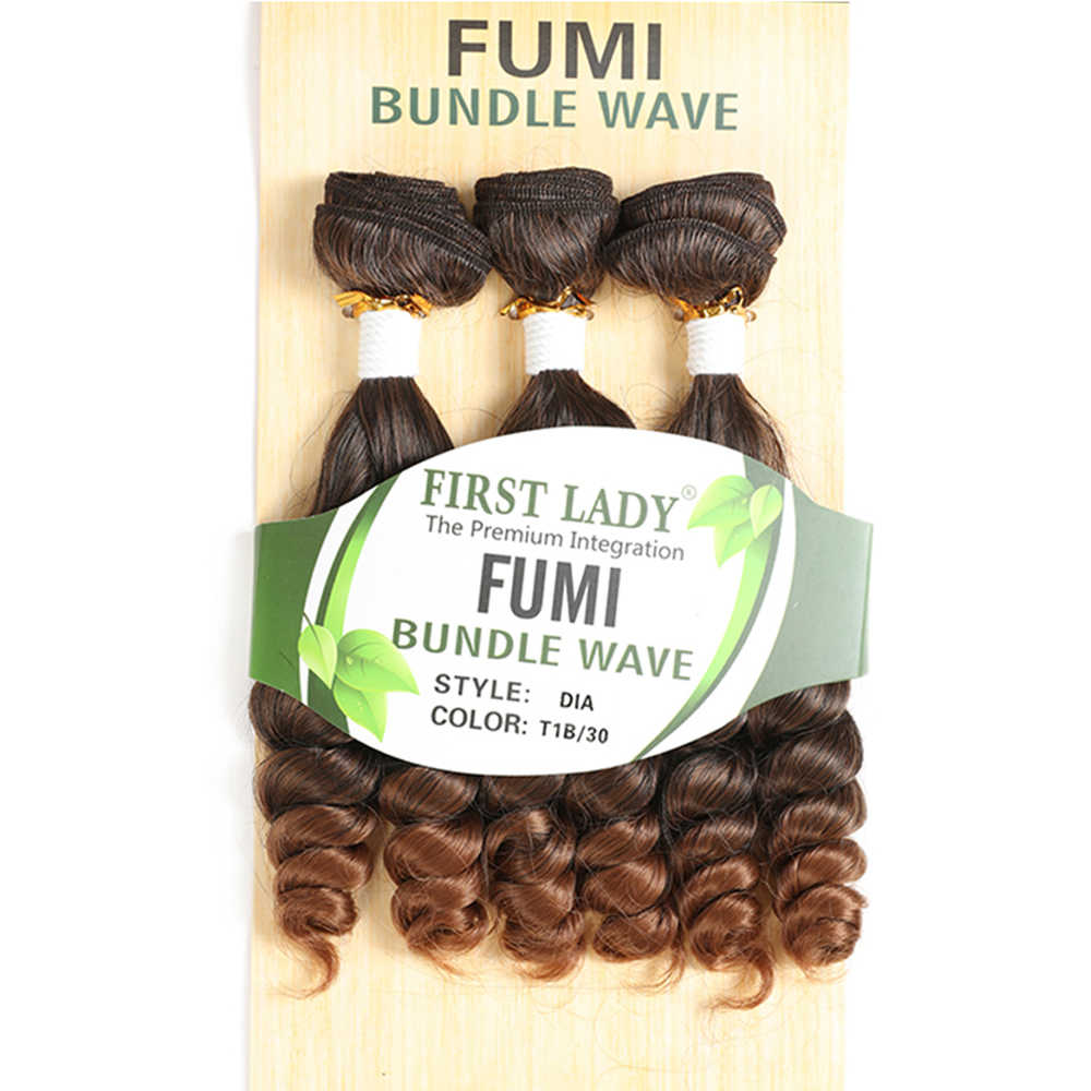 Ombre Brown Color Funmi Curly Synthetic Hair Bundles 3 PCS Weaving X-TRESS High Temperature Fiber Hair Weaves Extensions 18inch