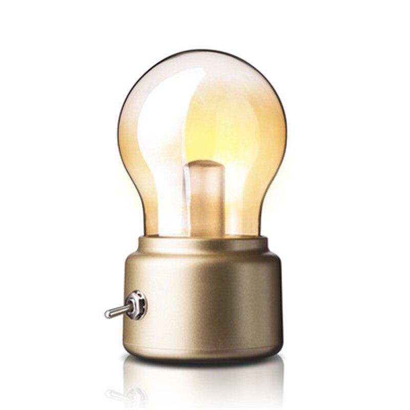 Decoración de escritorio Retro simple lámpara de mesa pequeña bombilla Led pequeña Luz De noche extraña personalidad vidrio lámpara de mesa creativa