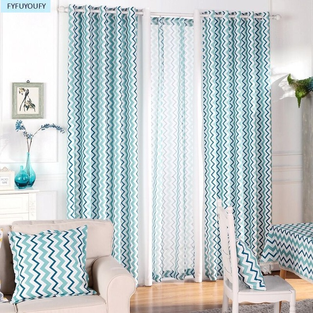 Kitchen curtains drapes modern elegant living room blue window curtains fashionable printed wave drapes 2 colors