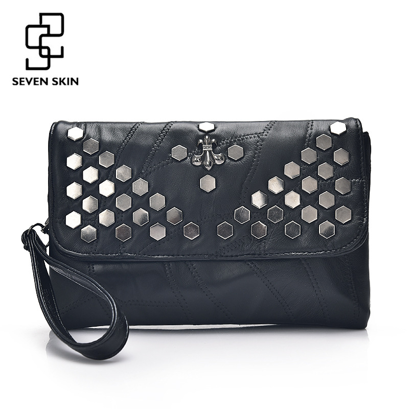 SEVEN SKIN Brand Leather Women's Envelope Clutch Bag with Rivet Crossbody Bags for Women Handbag Messenger Bag Ladies Clutches fashion women s envelope clutch bag high quality crossbody bags for women trend handbag messenger bag large ladies clutches